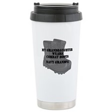 Navy Grandpa Granddaughter Combat Boots Travel Mug