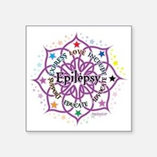 "Epilepsy-Lotus Square Sticker 3"" x 3"""