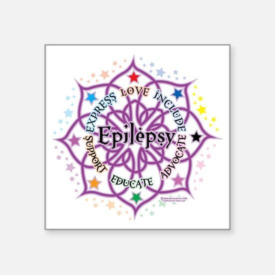 "Epilepsy-Lotus Square Sticker 3"" x 3"""