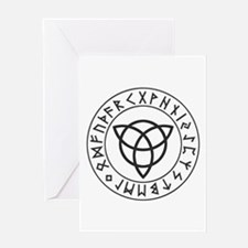 Triquetra Reversed Rune Shield.png Greeting Cards