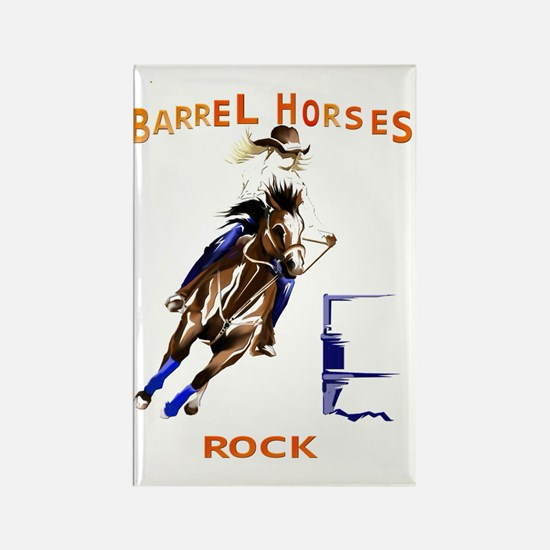 Barrel Horses Rock Trans Rectangle Magnet