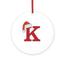 Letter K Christmas Monogram Ornament (Round)