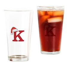 Letter K Christmas Monogram Drinking Glass