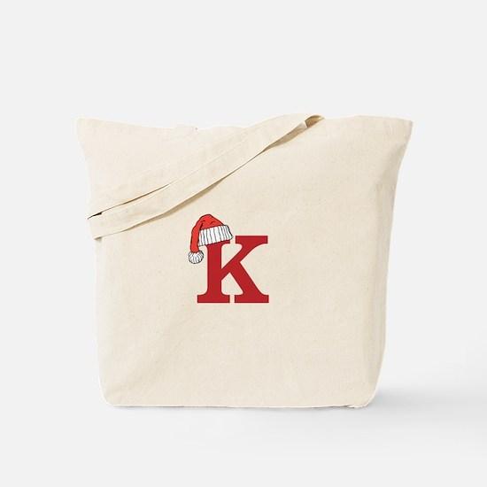 Letter K Christmas Monogram Tote Bag