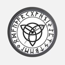 Triquetra Reversed Rune Shield.png Wall Clock