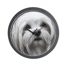 BLACK AND WHITE MALTESE PORTRAIT Wall Clock