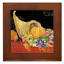 Harvest Thanksgiving Fall Cornucopia A Framed Tile