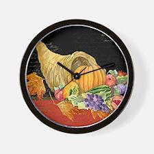 Harvest Thanksgiving Fall Cornucopia Au Wall Clock