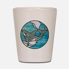 whale stained glass Shot Glass