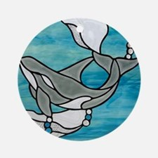 whale stained glass Round Ornament