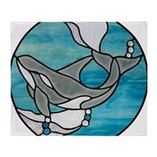 whale stained glass Throw Blanket