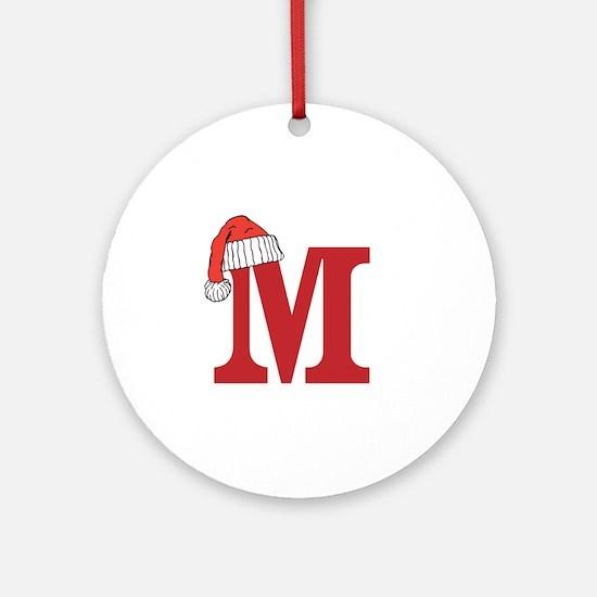 Letter M Christmas Monogram Ornament (Round)