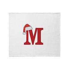 Letter M Christmas Monogram Throw Blanket
