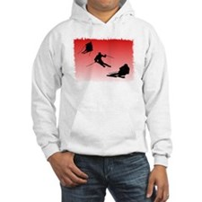 Trio red background frosted edges.png Hoodie