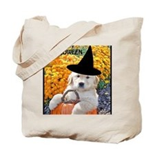 Halloween Decor Poster, Funny Puppy Witch Tote Bag