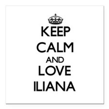 "Keep Calm and Love Iliana Square Car Magnet 3"" x 3"