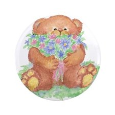 """Cute Teddy Bear with Bunch of Flowers for You 3.5"""""""