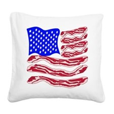 American Bacon Flag Square Canvas Pillow
