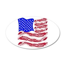 American Bacon Flag 20x12 Oval Wall Decal
