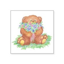 Cute Teddy Bear with Bunch of Flowers for You Stic