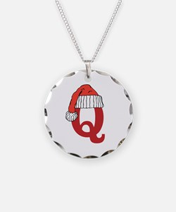 Letter Q Christmas Monogram Necklace
