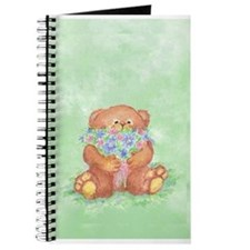 Watercolor Teddy Bear Bunch of Flowers Fun Journal