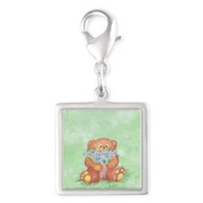 Watercolor Teddy Bear Bunch of Flowers Fun Charms