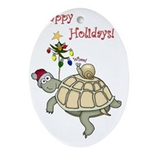 Turtle and Snail Christmas Oval Ornament