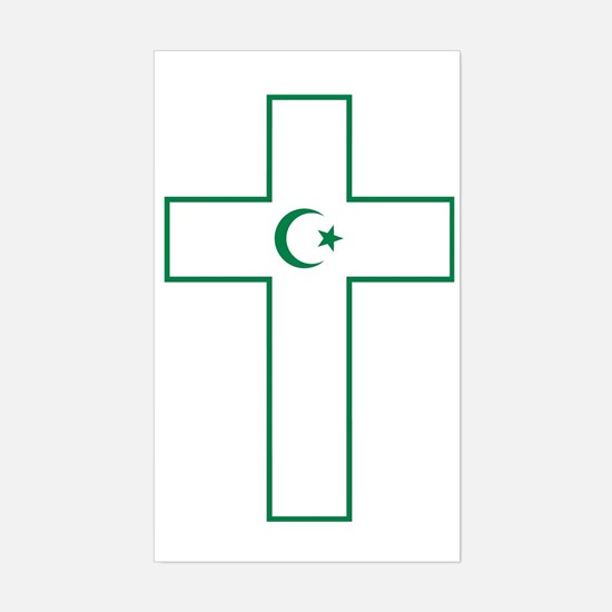 Cross and Crescent Sticker (Rectangle)