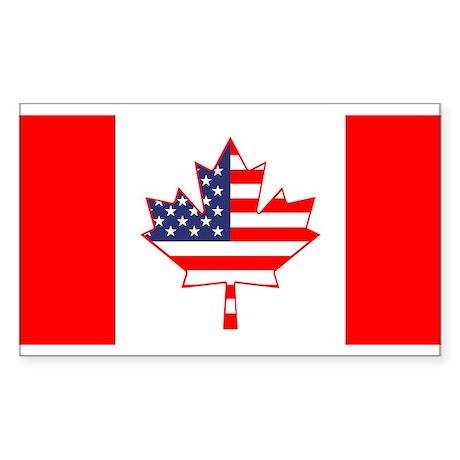 Dual Canada USA Oval Flag Sticker