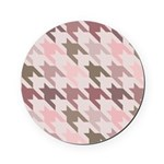 Houndstooth Rose Pink Checked Cork Coaster