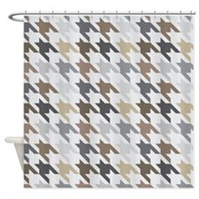 Houndstooth Gray Brown Checked Shower Curtain