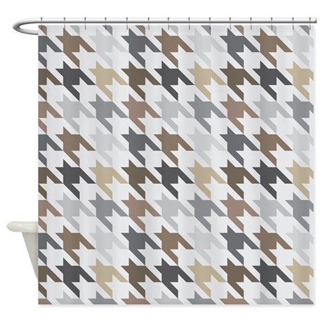 Houndstooth Gray Brown Checked Shower Curtain By MainstreetHomewares
