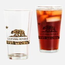 Weeds Camo California Bear Clear Drinking Glass