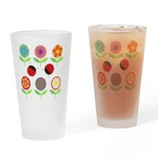 Retro Flowers and Ladyugs Drinking Glass
