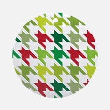 Houndstooth Christmas Red Green Ornament (Round)