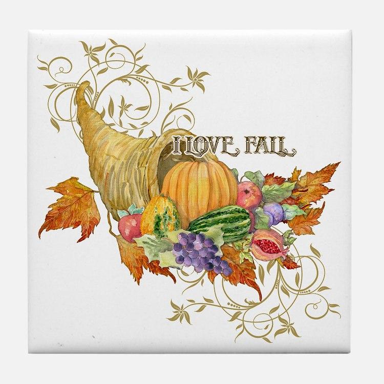 Harvest Thanksgiving Fall Cornucopia  Tile Coaster