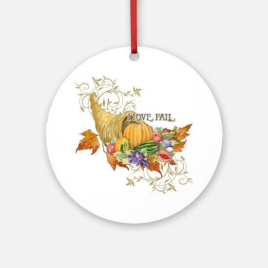 Harvest Thanksgiving Fall Cornucopi Round Ornament