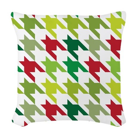 Red Green Throw Pillow : Houndstooth Christmas Red Green Woven Throw Pillow by MainstreetHomewares