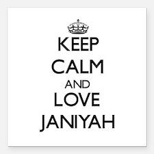"Keep Calm and Love Janiyah Square Car Magnet 3"" x"
