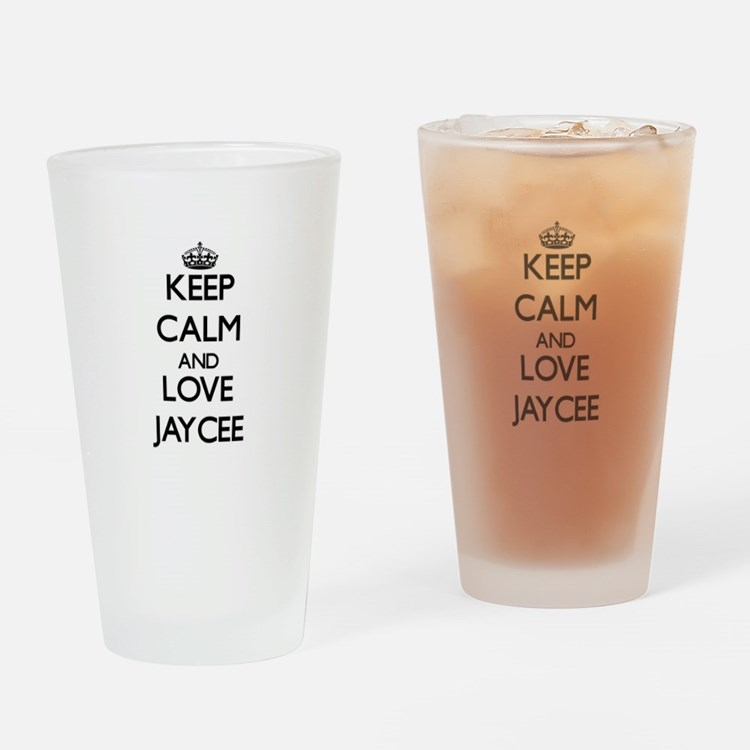 Keep Calm and Love Jaycee Drinking Glass
