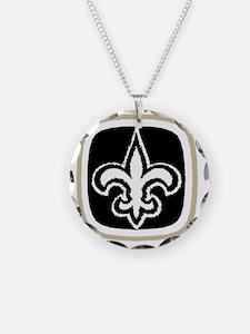 3-big fleur-de-lis logo tan  Necklace