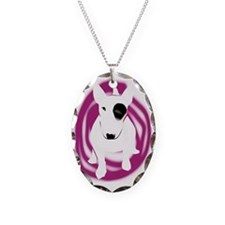 bully pink eye swirl Necklace Oval Charm
