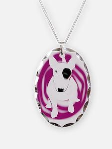 bully pink eye swirl Necklace Oval Charm