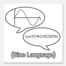 "sine-language-revised Square Car Magnet 3"" x 3"""