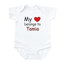 My heart belongs to tamia Infant Bodysuit