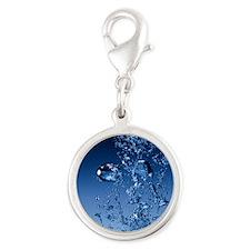 bubbles Silver Round Charm