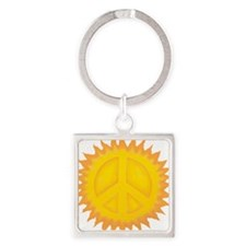 Sun Peace Sign Square Keychain