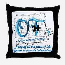 ot puzzle aqua Throw Pillow