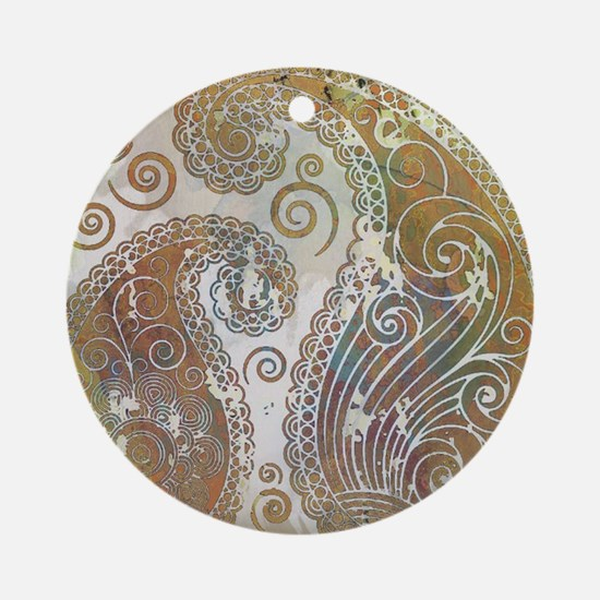 vintage color paisley Ornament (Round)